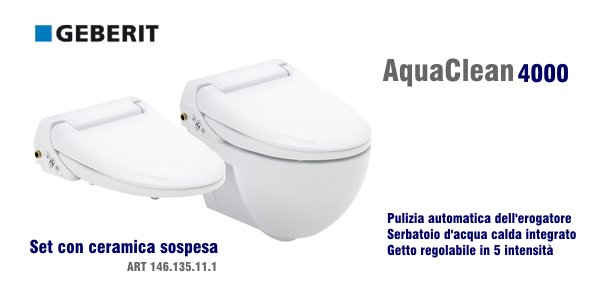 vaso bidet geberit aquaclean 4000 con set in ceramica. Black Bedroom Furniture Sets. Home Design Ideas