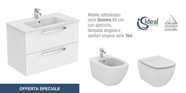 Mobile bagno dolomite gemma con sanitari ideal standard for Offerta sanitari bagno