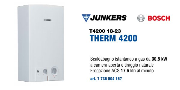 Scaldabagno Junkers Bosch Therm 4200 18